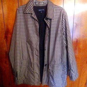 Jones New York checkered beige black jacket coat